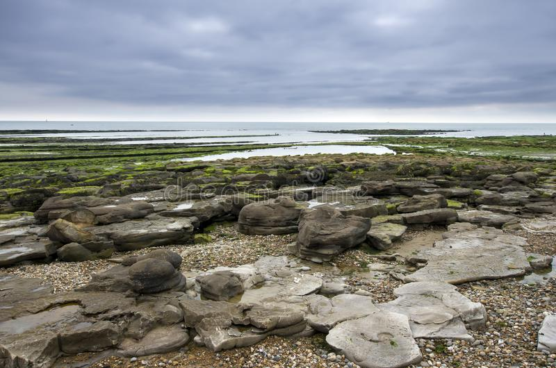 Sharp rocks on shore. Sharp moss covered rocks on the shore at the coastline of Northern France royalty free stock photography