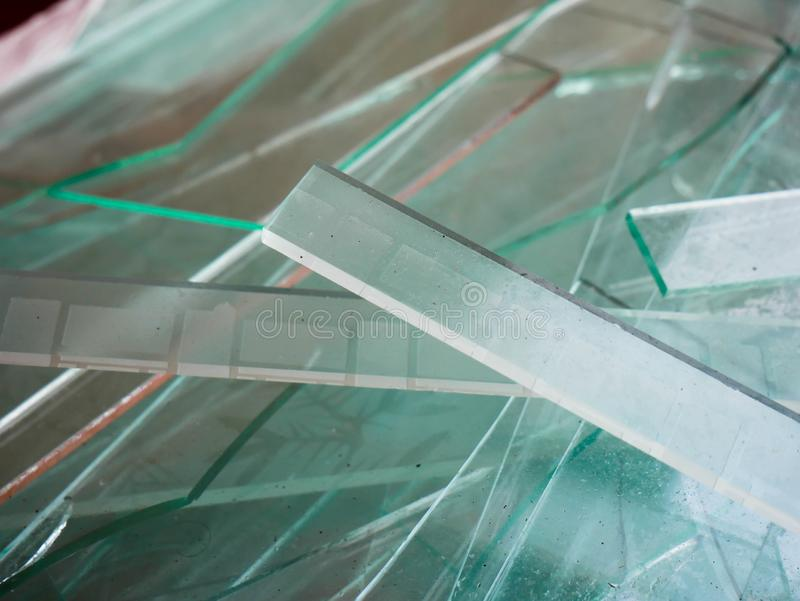 Sharp sheet glass close up shot, waiting the transport back to the factory royalty free stock images