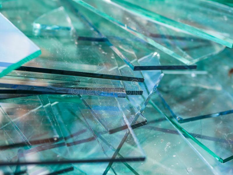 Sharp sheet glass waste waiting the transport back to the factory royalty free stock photography