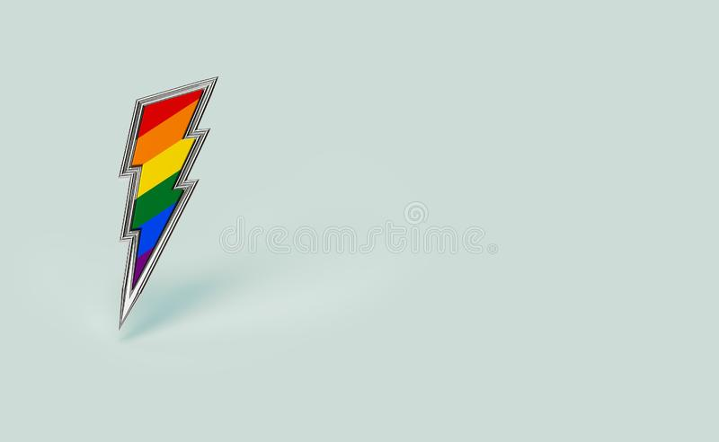 Sharp silver LGBT lightning bolt rainbow pride symbol isolated on pastel green background with copy space on the right side. vector illustration