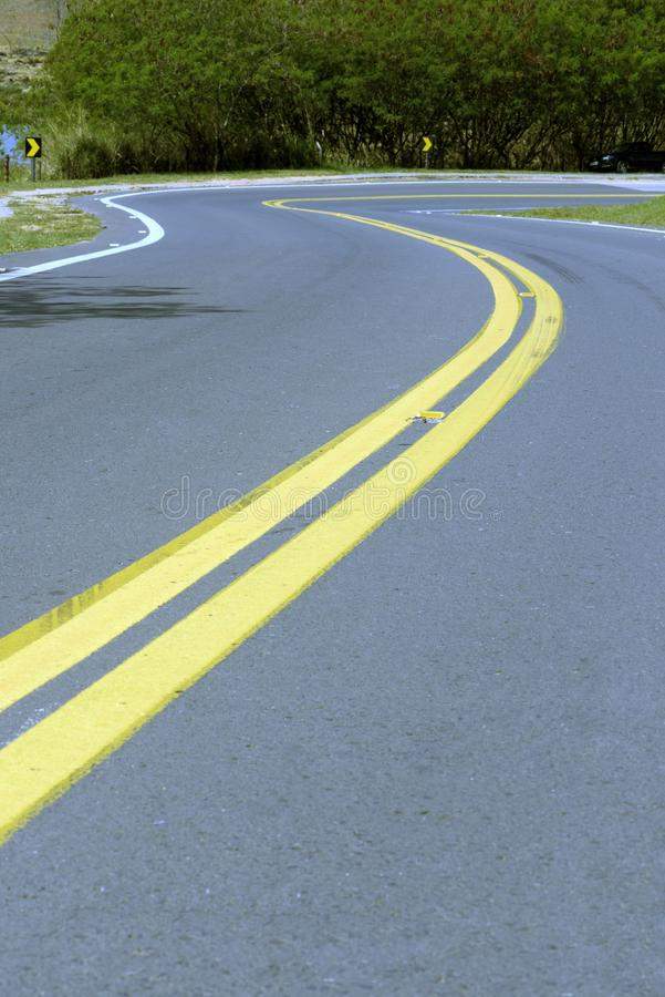 Sharp slope on empty road stock image