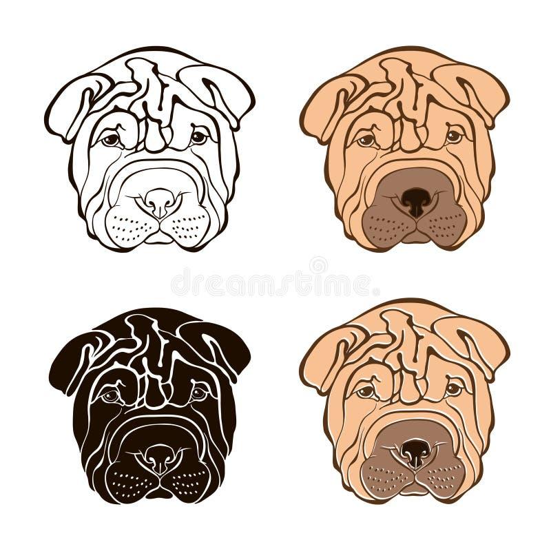 Sharpei face. Vector set. Hand-drawn illustration. Sketch vector illustration