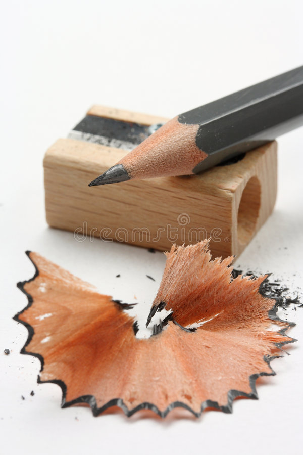 Sharpened pencil. And wood shavings stock images