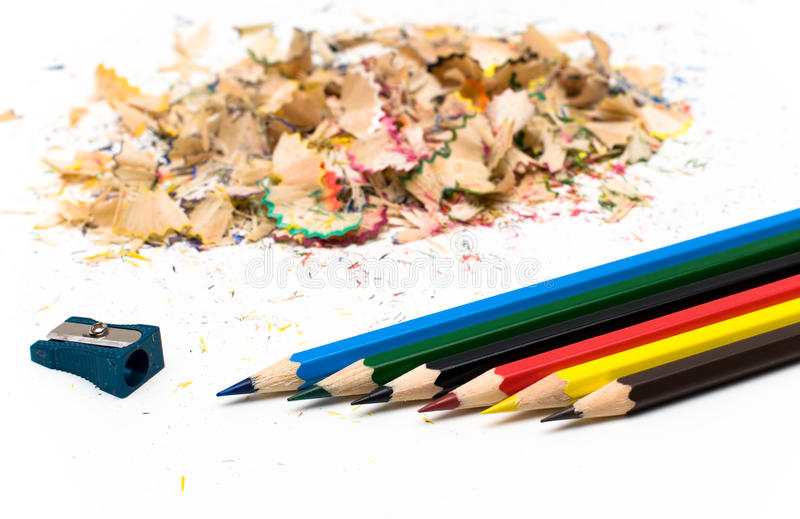 Sharpened pencil and wood shavings. Six Sharpened pencil and wood shavings. Office stock images