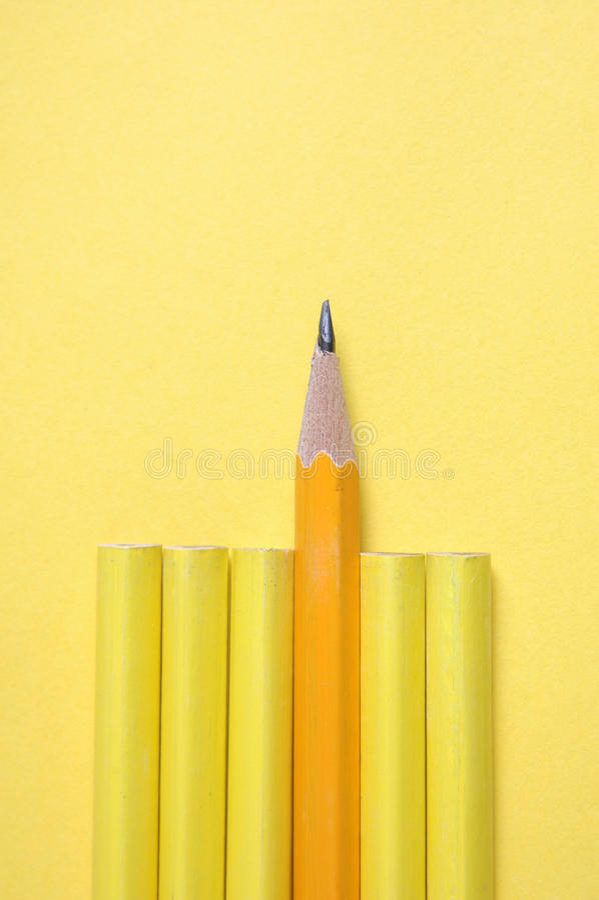 Advantage success concept. Sharp pencil ahead of peers stock image