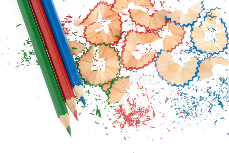 Sharpened Pencils And Wood Shavings Royalty Free Stock Image