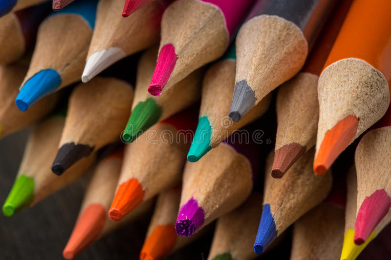 Sharpened tips of color pencils. Closeup of sharpened color pencils stock photos