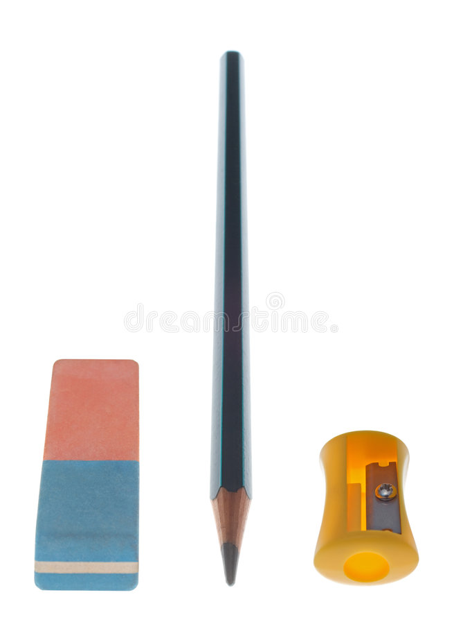 sharpener μολυβιών γομών στοκ φωτογραφία