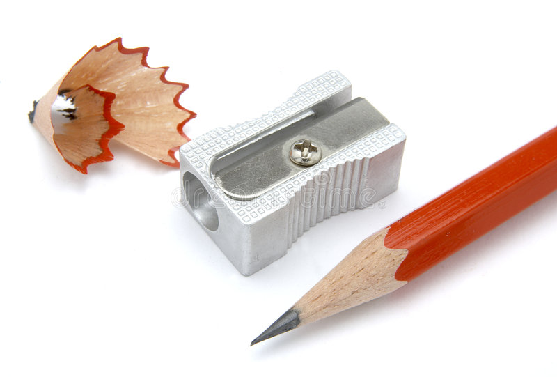 Sharpener 4. Close up of sharpener and red pencil on white background, with clipping path, shadow not included royalty free stock photography