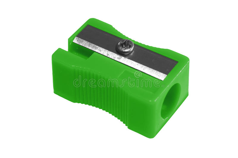 Sharpener green. Manual green pencil sharpener, isolated on the white background stock photography