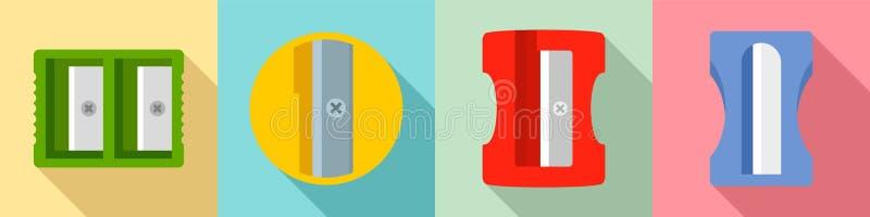Sharpener icon set, flat style stock illustration