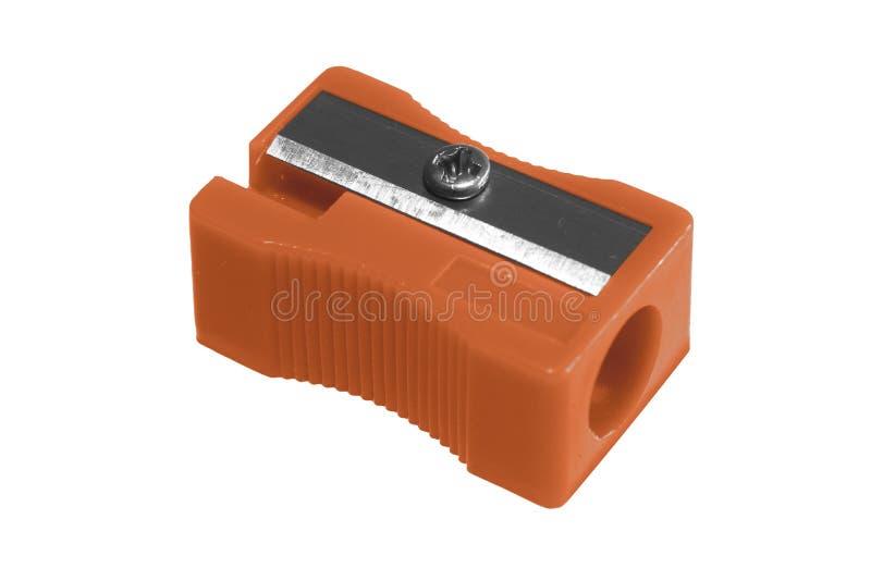Sharpener orange. Manual orange pencil sharpener, isolated on the white background stock photos