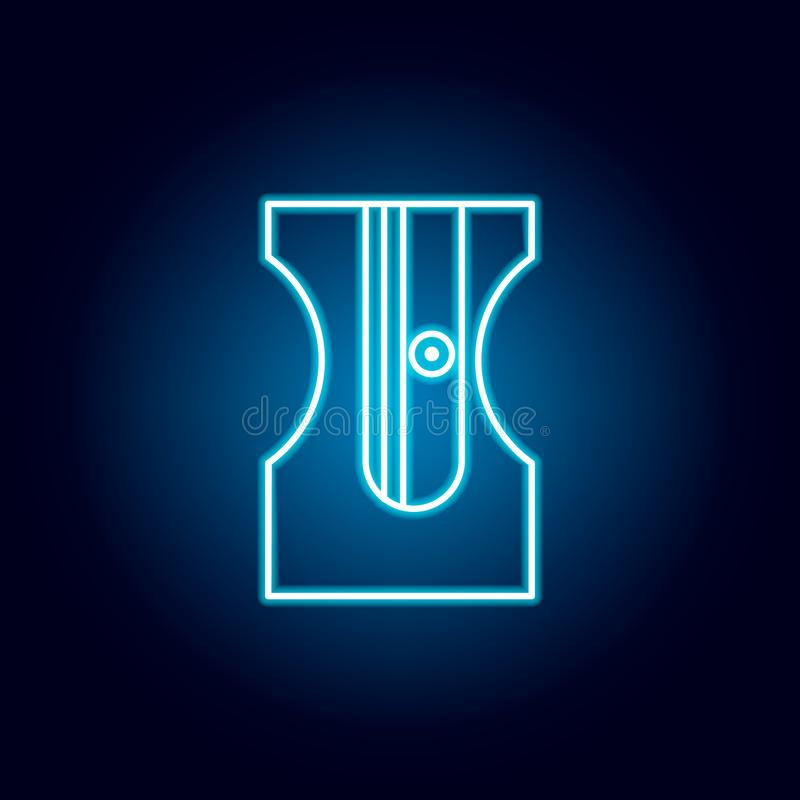 sharpener, pencil, sharping tool outline icon in neon style. elements of education illustration line icon. signs, symbols can be stock illustration