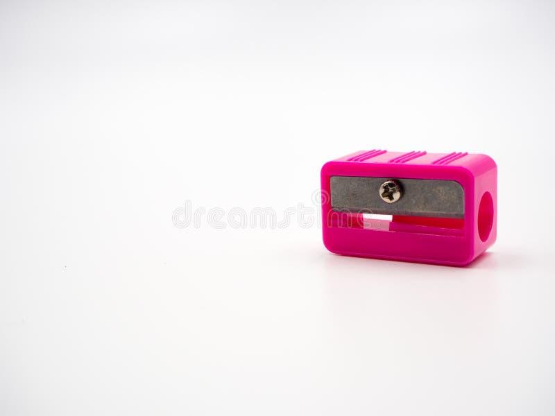 Sharpener. Pink sharpener on white background stock photos