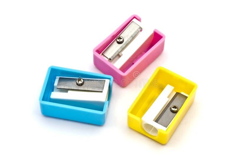 Sharpeners de lápis coloridos fotografia de stock