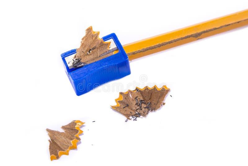 Sharpner manual del lápiz en el fondo blanco imagen de archivo