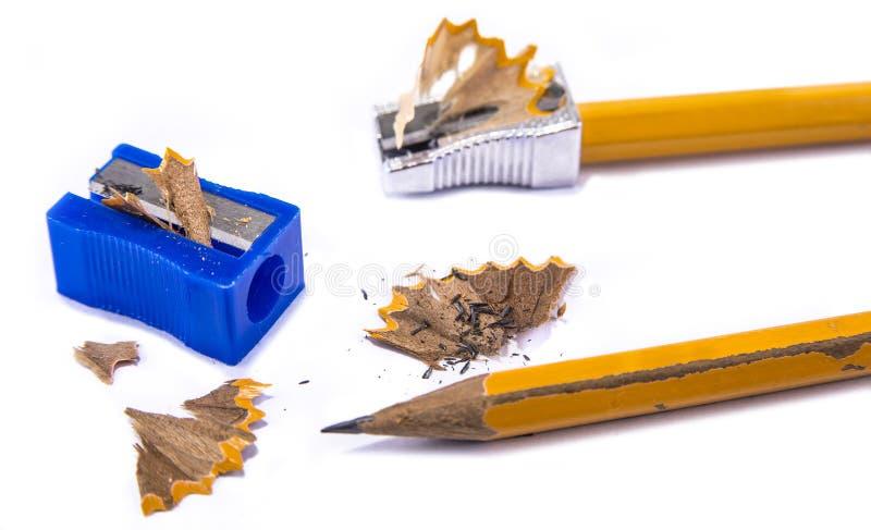 Sharpner manual del lápiz en el fondo blanco imágenes de archivo libres de regalías
