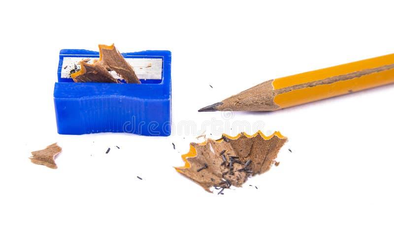 Sharpner manual del lápiz en el fondo blanco foto de archivo libre de regalías