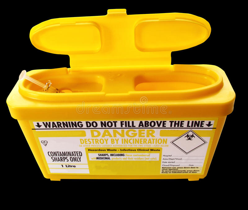 Sharps needle container royalty free stock images