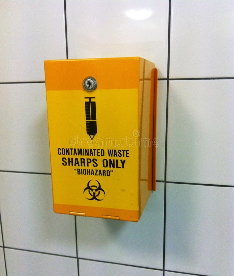 Sharps / needle container royalty free stock photos