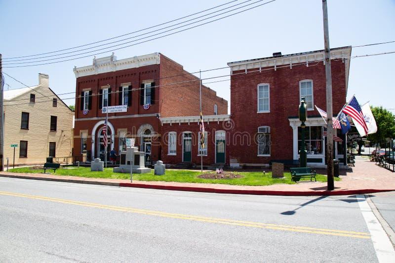 Sharpsburg arkiv och stadshus arkivbild