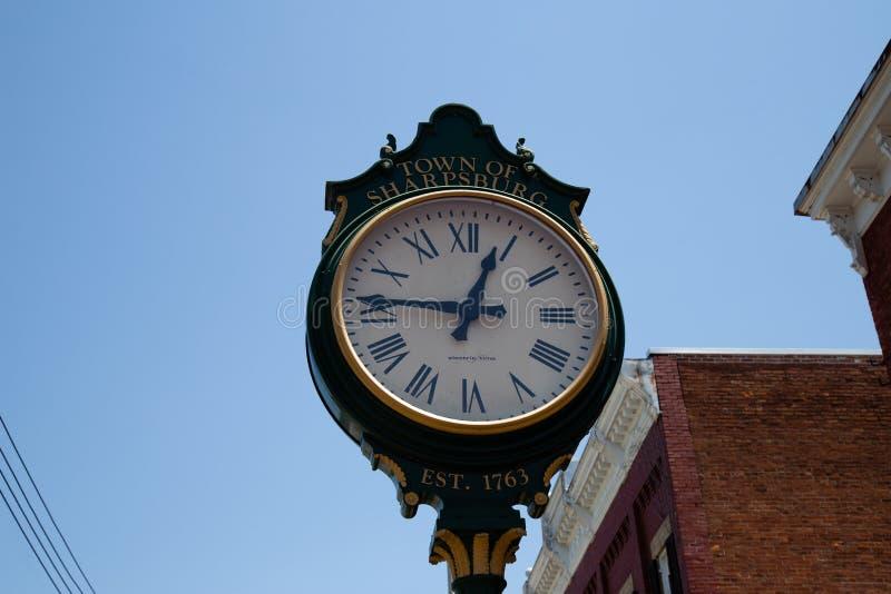 Sharpsburg MD镇时钟 免版税库存图片