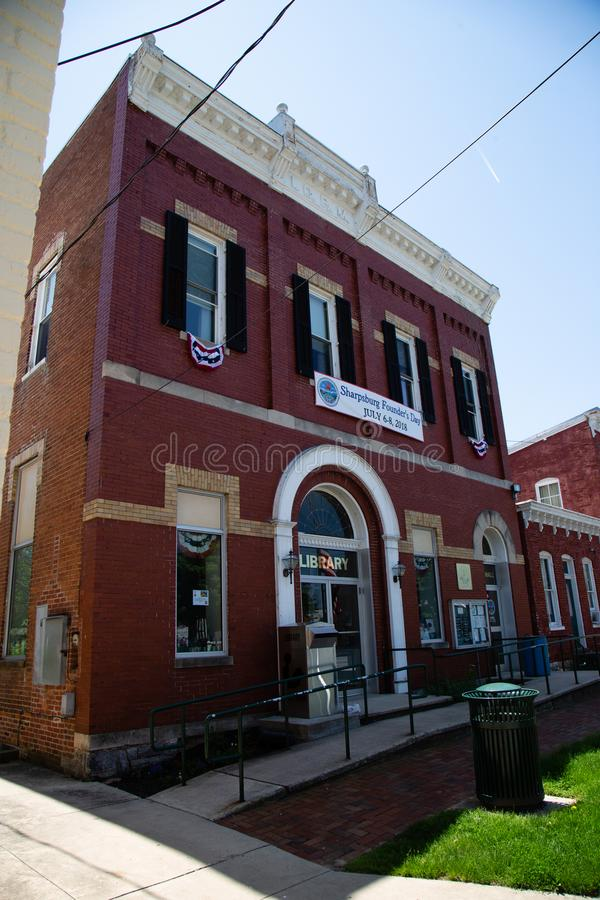 Sharpsburg MD Library and Town Hall. Sharpsburg, MD, USA - May 24, 2018: The Town Hall and Library in Sharpsburg, a quaint and historic town, known for its royalty free stock photo