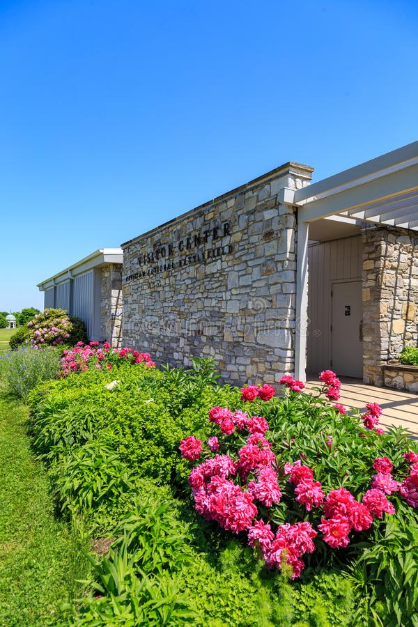 Antietam National Battlefield Visitor Center. Sharpsburg, MD, USA - May 23, 2018: The National Park Service Antietam National Battlefield Visitor Center is royalty free stock photography