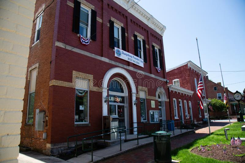 Sharpsburg MD Library and Town Hall. Sharpsburg, MD, USA - May 24, 2018: The Town Hall and Library in Sharpsburg, a quaint and historic town, known for its stock images