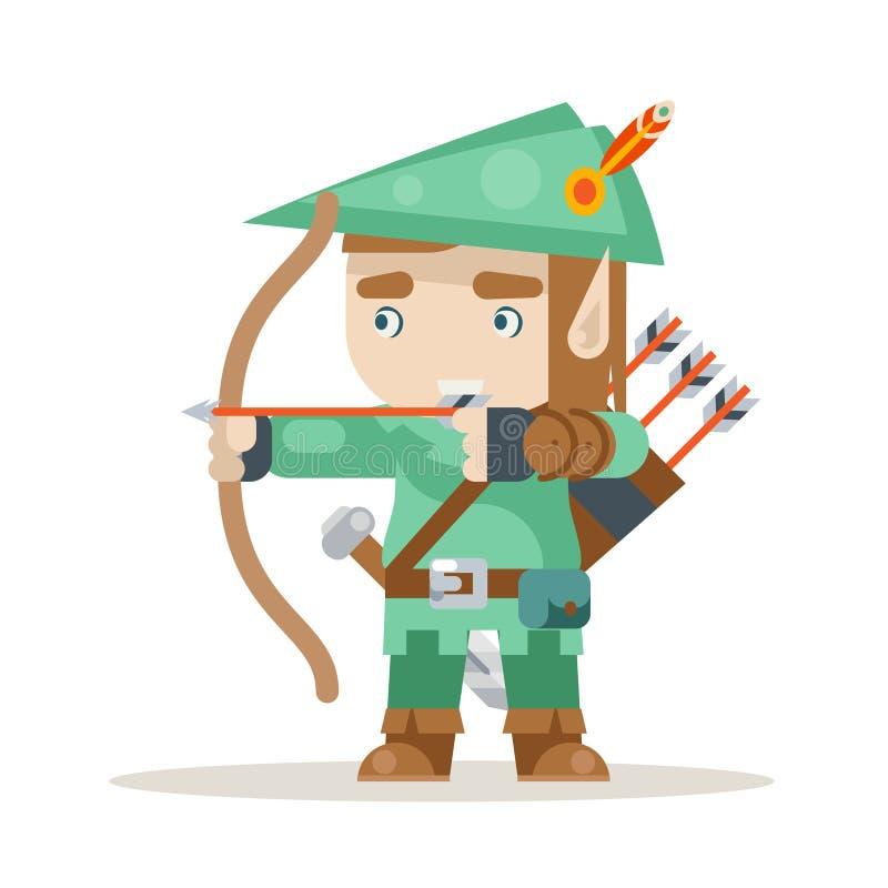 Sharpshooter łuczniczki łęku elfa strzałkowatej fantazi akci RPG średniowieczna gra ablegrował animacja przygotowywającą charakte royalty ilustracja