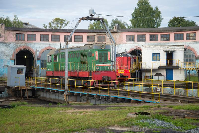 Shunting locomotive ChME2 on the turn circle of the locomotive depot. SHARYA, RUSSIA - SEPTEMBER 04, 2017: Shunting locomotive ChME2 on the turn circle of the royalty free stock photo