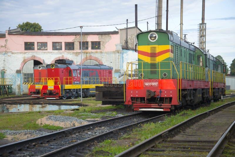 Shunting locomotives of ChME3 in locomotive depot. Sharya. SHARYA, RUSSIA - SEPTEMBER 04, 2017: Shunting locomotives of ChME3 in locomotive depot royalty free stock image