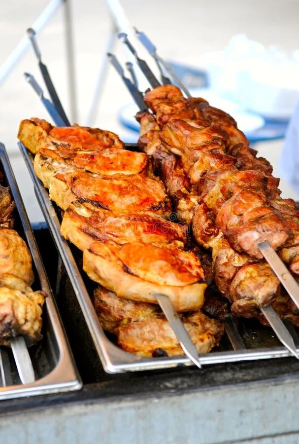 Shashlik cooking royalty free stock photography