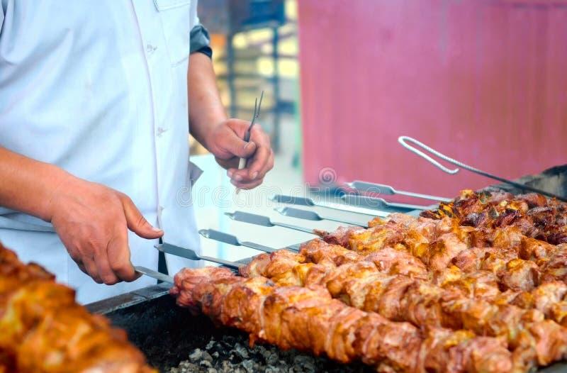 Shashlik cooking royalty free stock images
