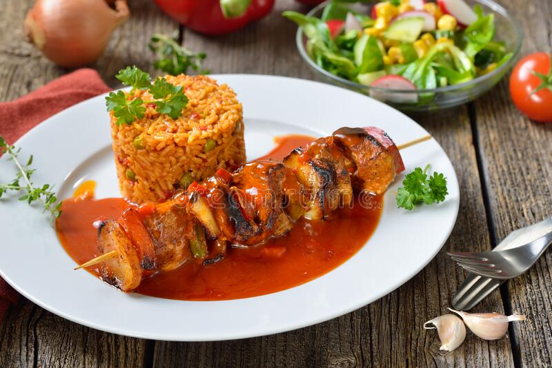 Shashlik with Djuvec rice royalty free stock photo