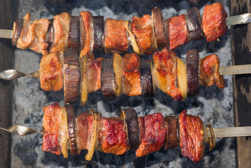 Shashlik - Georgian national meal stock images