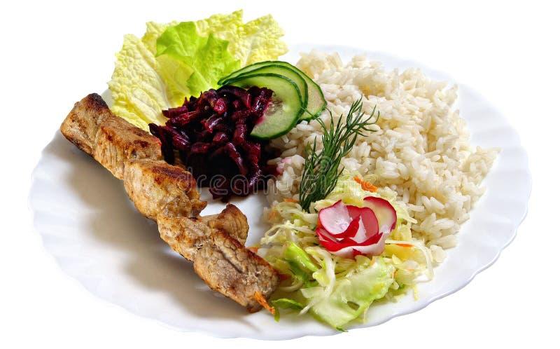 Shashlik with rice royalty free stock photos