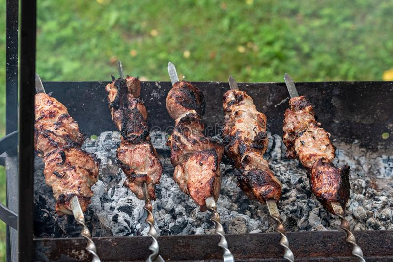 Shashlik Shish Kebab - traditional georgian barbecue prepared. Kebabs are grilled on the coals on the old grill. Close-up stock photography