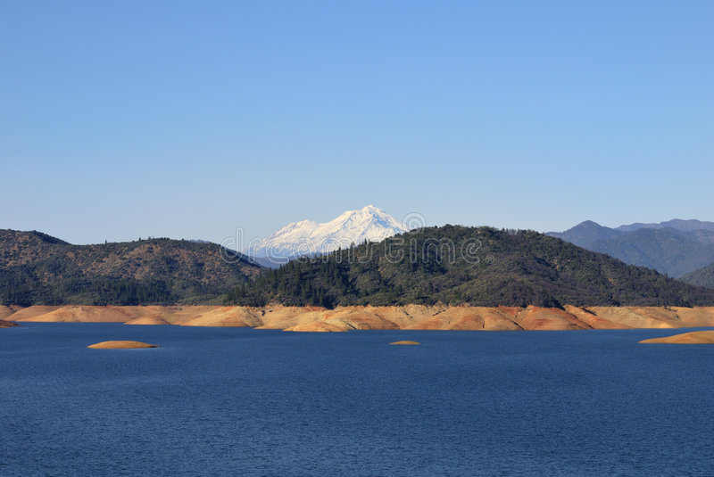 Shasta Lake Below Mt. Shasta Stock Photos
