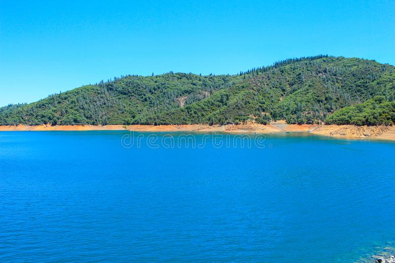 Scenic View of the Shasta Lake, California, USA. Shasta Lake formed by the Shasta Dam, Northern California in the United States stock photography