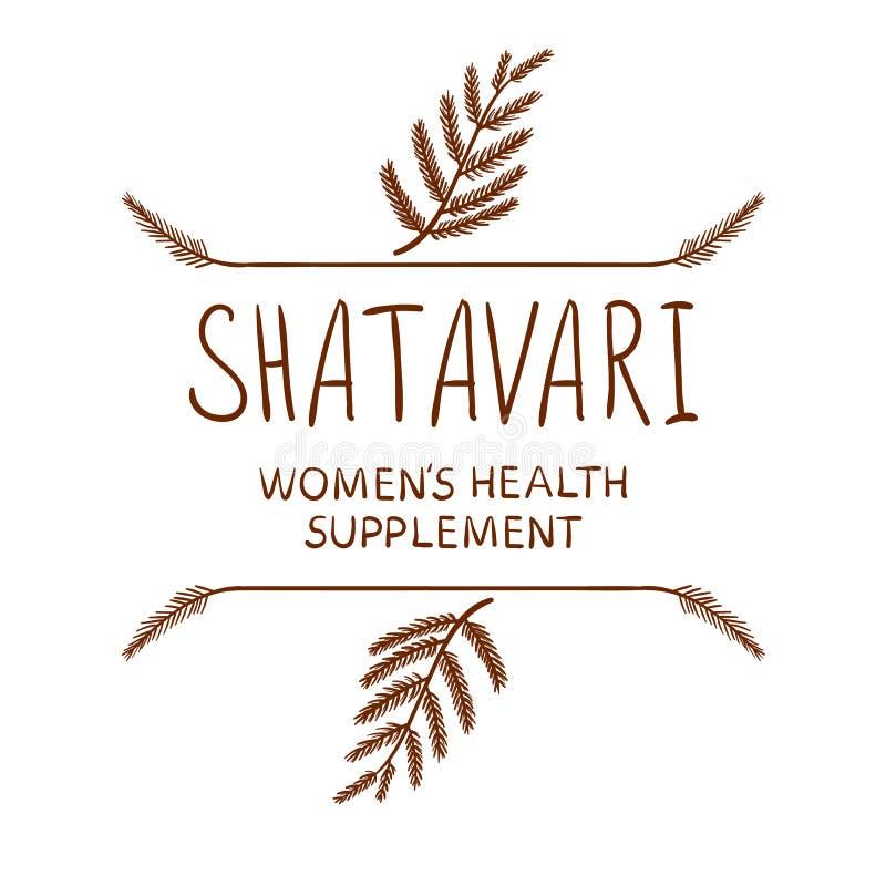 ` Shatavari: bokstäver för VEKTOR för ` för tillägg för kvinna` s vård- med utdragna gränser, brunt på vit royaltyfri illustrationer