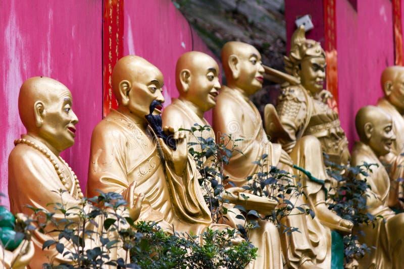 Shatin 10000 ναός Buddhas, Χονγκ Κονγκ στοκ εικόνες