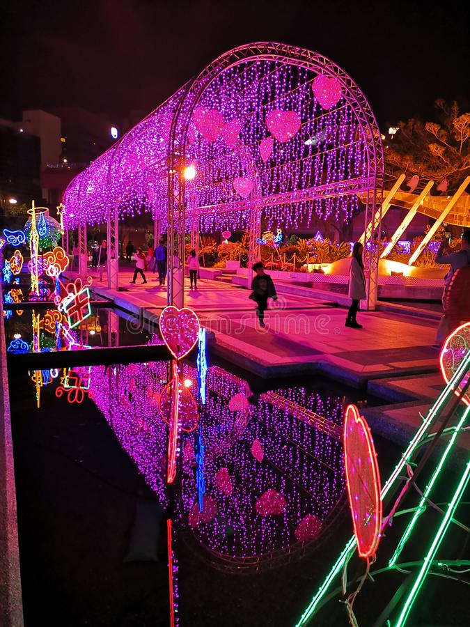 Shatin Festival Lighting. Shatin Festival features beautiful lighting at Shatin Hong Kong. The festival attracts a lot of photographers, tourists and local stock image