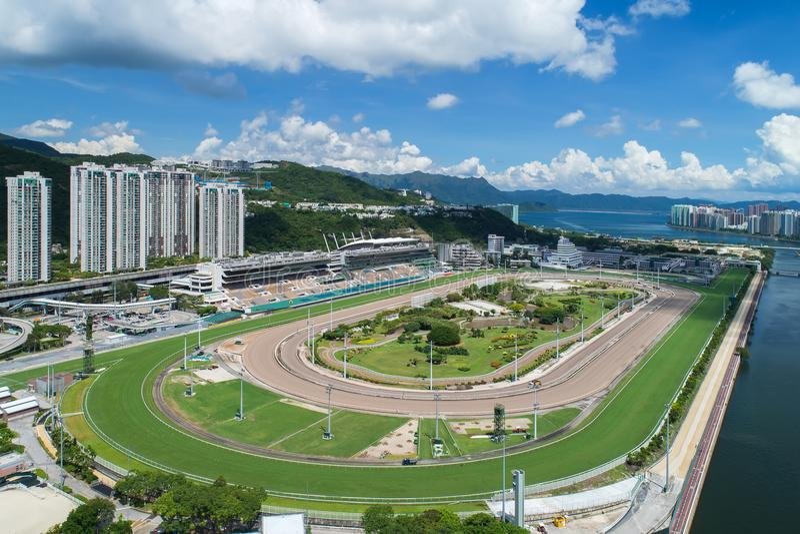 Shatin Racecourse. Sha Tin Racecourse aerial photograph royalty free stock image
