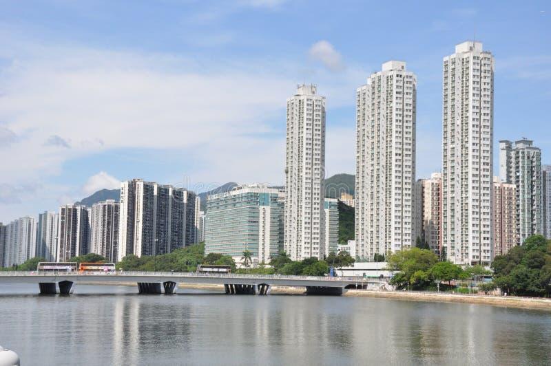 Shatin Shing Mun River bij een zonnige dag stock foto