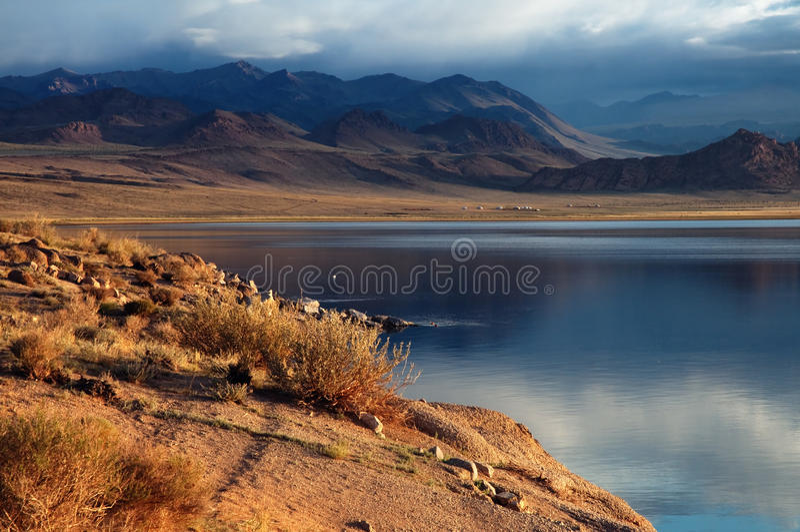 Shatsagay nuur lake in mongolia royalty free stock photo