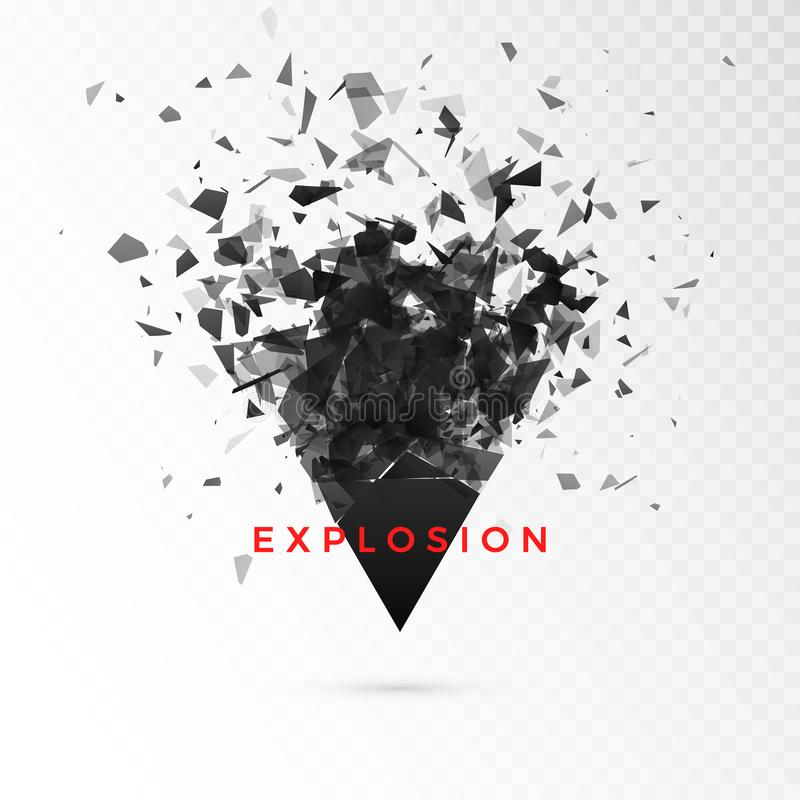 Shatter dark triangle. Abstract cloud of pieces after explosion. Vector illustration isolated on transparent background royalty free illustration