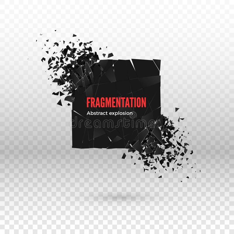 Shatter and destruction dark square effect. Abstract cloud of pieces and fragments after explosion. Vector. Illustration isolated on transparent background vector illustration