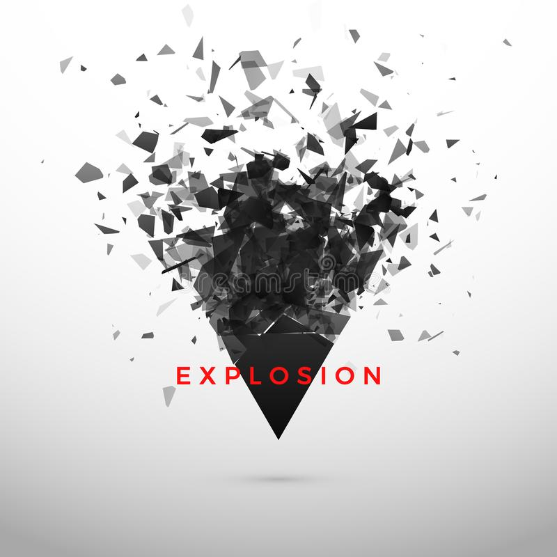 Shatter and destruction dark triangle. Abstract cloud of pieces and fragments after explosion. Vector vector illustration