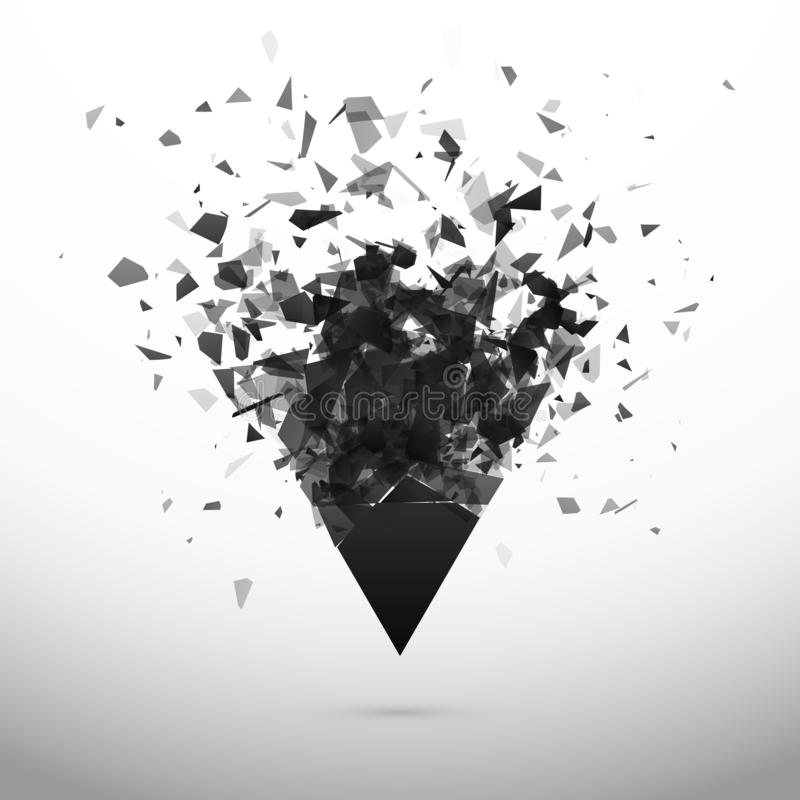 Shatter and destruction dark triangle. Explosion effect. Abstract cloud of pieces and fragments after explosion. Vector stock illustration
